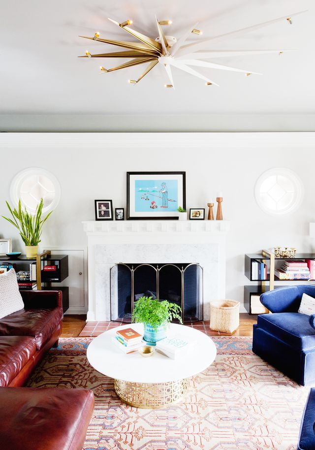 """Jacobson's greatest find for the home, she says, was Jason Koharik's Nautilus Star ceiling light fixture, which she used in the living room. """"It's the centerpiece of the..."""