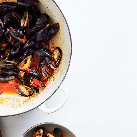 Steamed Mussels with Tomato and Chorizo Broth
