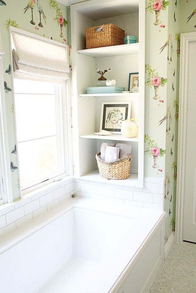 Enchanted garden whimsy abounds in this bathroom of a home inspired by the serene landscapes of California.
