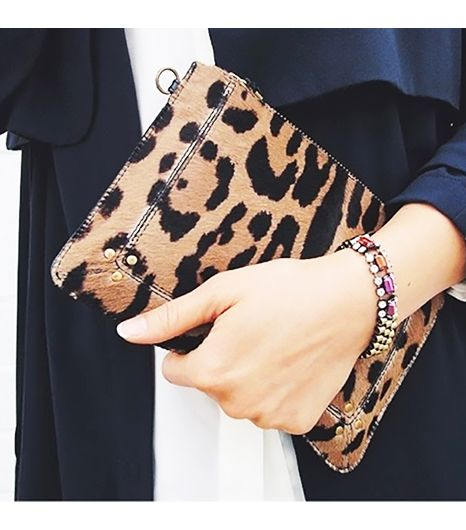 Andyheart is wearing: Iosselliani bracelet, Jerome Dreyfuss bag.  Get The Look: Clare VivierHaircalf Wallet Clutch ($122)  See more ways to wear leopard bagson Pose.com.