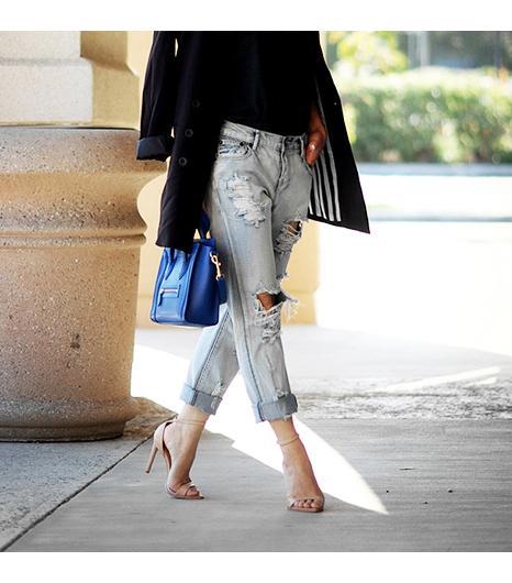 Halliedailyis wearing: One Teaspoon jeans, Zara heels.  Get The Look: Free People Destroyed Skinny Jeans ($98)  See more ways to wear distressed jeanson Pose.com.