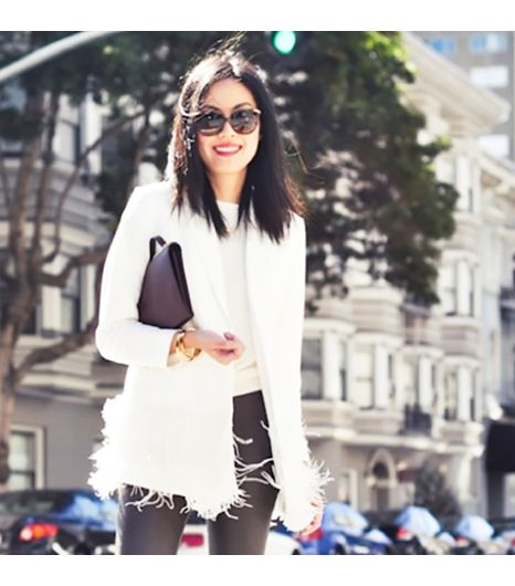 9to5chicis wearing: Elizabeth & James blazer, Ann Taylor shirt, Balenciaga pants, Celine bag.  Get The Look: House of Harlow 1960 Claire 58mm Sunglasses ($125) in...