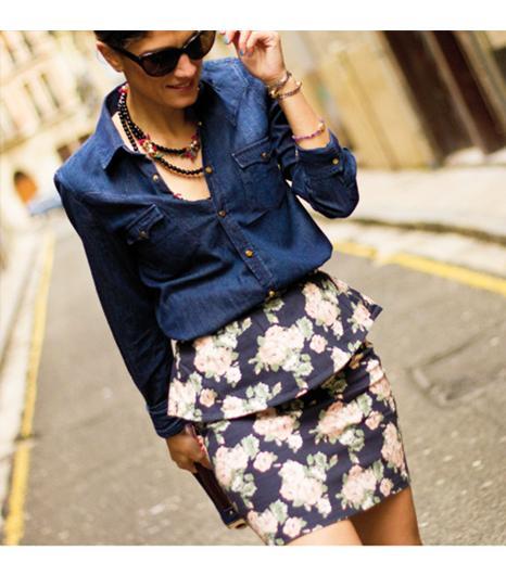 Balamoda.net  Get The Look: Gabriella Rocha Luce Floral Scuba Peplum Skirt ($45) in Royal  See more ways to wear peplum skirtson Pose.com.