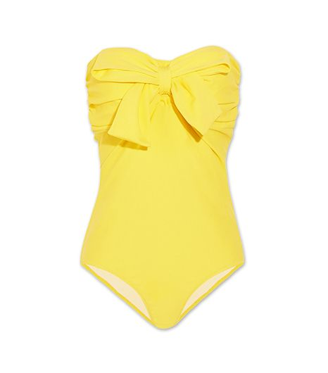 Look sweet all summer in Miu Miu's ultra-feminine Bow Embellished Bandeau Swimsuit ($245) in Lemon.