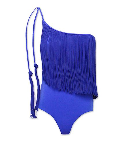 We're all about the luxe fringe trim in Seafolly's Jazz Club Asymmetrical Swimsuit ($204) in Electric Blue.