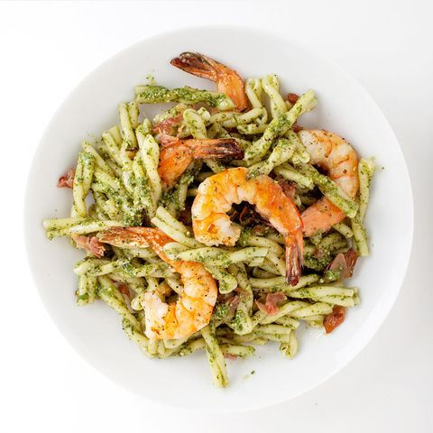 Pasta With Pesto, Shrimp, and Cured Ham