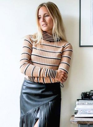 Steal This British Blogger's Chic Fringed Leather Skirt Look for Fall
