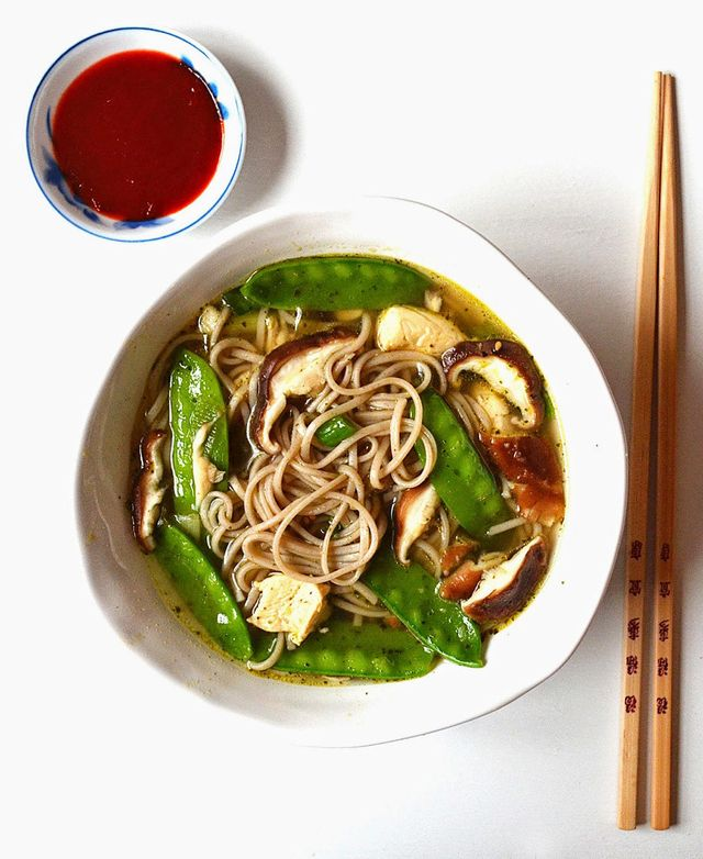 Soba Noodle Soup With Mushrooms and Snow Peas
