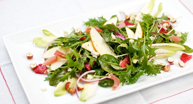 Green Salad with Blood Oranges, Apples, and Hazelnuts