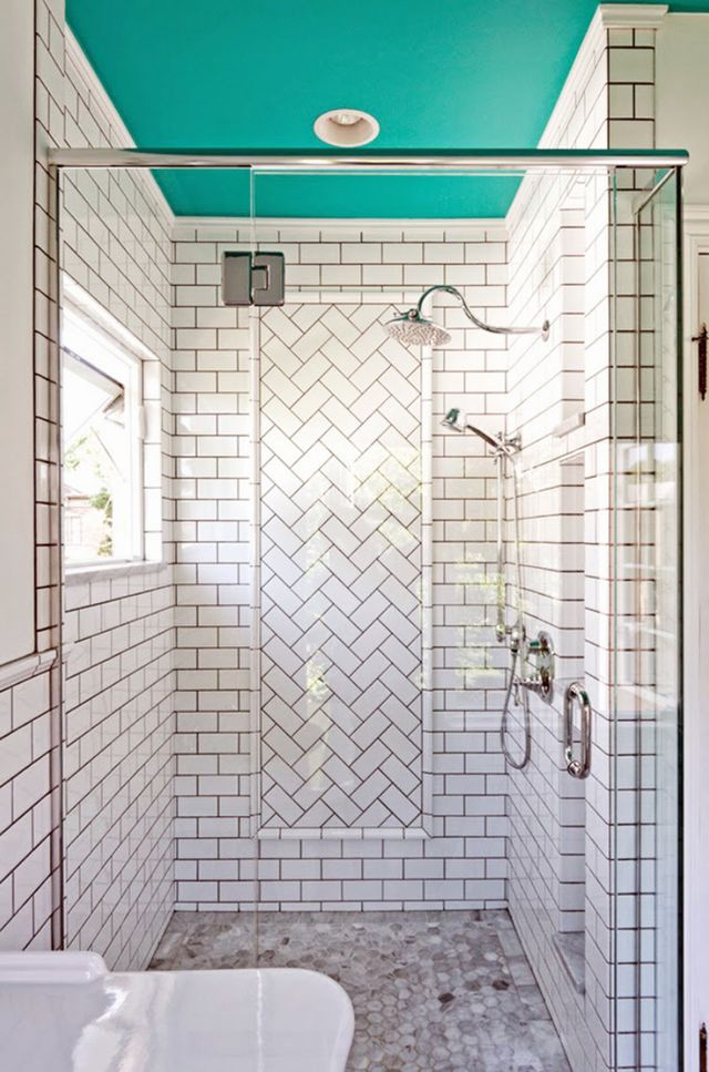 The shower is often overlooked, but considering how much time you spend here, it deserves just as much attention. Who wouldn't want to look up at this bright turquoise tone while...