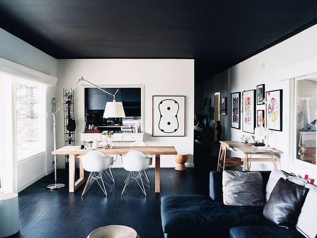 If you're a fan of black and white, then this monochrome home is sure to fire your creative engines. That charcoal ceiling is everything.
