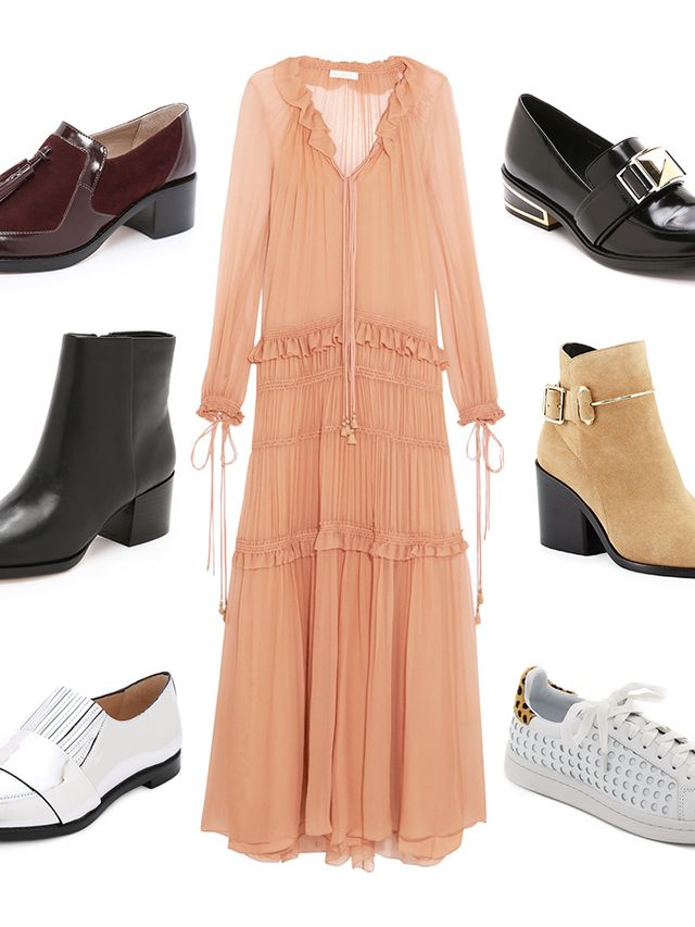 the right shoes to wear with your fall maxi dresses