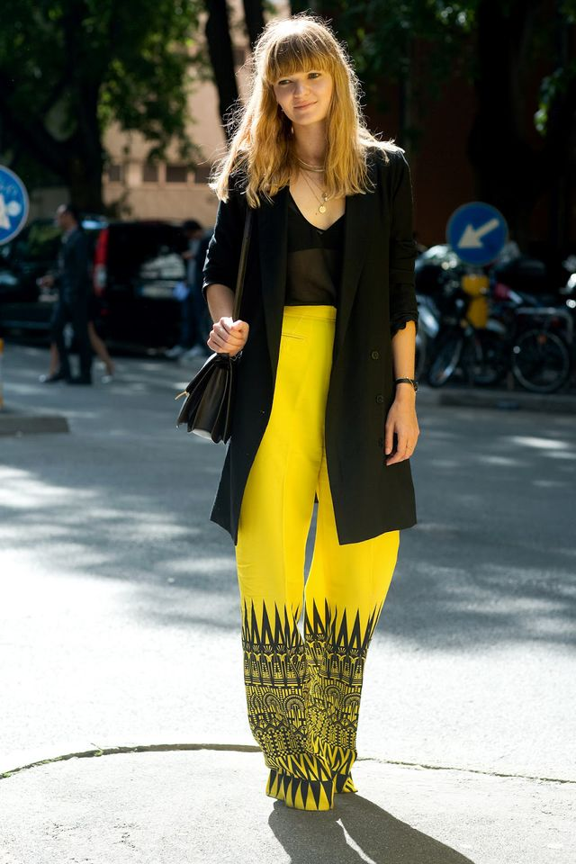 Street Style: Yellow Graphic Print Pants