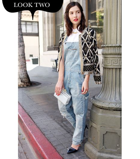 Since overalls are the ultimate casual piece, for my second look I wanted to take on the challenge of styling them for evening. The key to transforming denim coveralls is to pair them with...