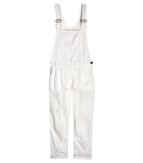 If you want an alternative to denim, consider these dreamy eyelet dungarees. They'll take you everywhere from a weekend brunch to the farmers' market.