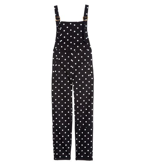 No need to stick to solids; mix it up with a pair of polka-dot coveralls.  ASOS Spot Print Overalls in Twill ($77) in Black/White
