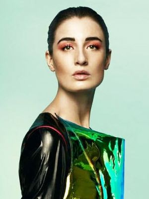 Erin O'Connor Takes on Red Eye Shadow