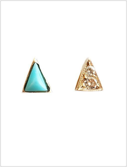 "Mismatched Triangle Turquoise and Diamond Studs ($391)Focused on using environmentally friendly production, Mociun (pronounced like ""Motion"") produces sweet little pieces of bijoux that are the..."