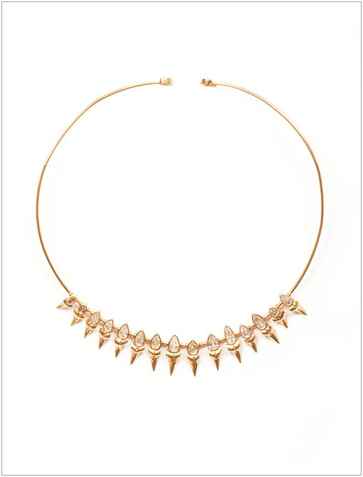 Shark Tooth Surfer Tiara Necklace ($30000, 212.826.8900)Using materials sourced from India and the beaches of Mexico-think: shells, semi-precious stones, and fossilized shark teeth-Dezso...