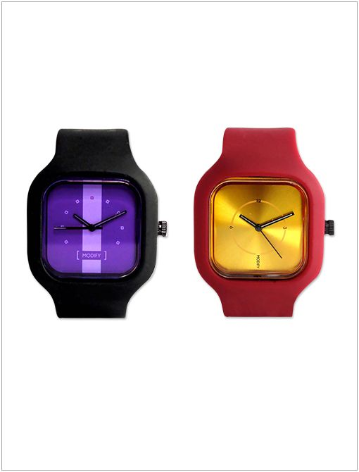 Gold Face with Crimson Strap ($45) and Purple Face with Black Strap ($40) Sport year team colours with a sleek timepiece.