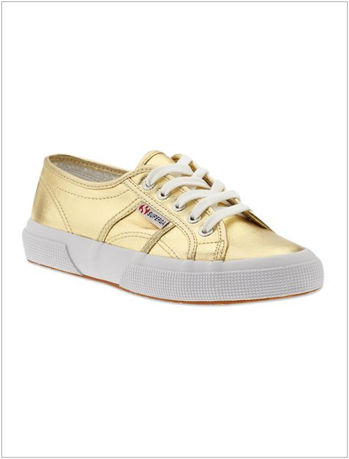 2750 Cotmetu Sneakers ($90) in Gold Metallic sneakers lend a sportif twist to a t-shirt and jeans combo.