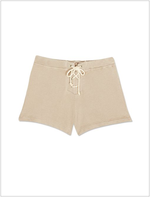 Kei Sweatshorts ($92, 913.685.4464)  Style neutral drawstring shorts with an attention-grabbing button-up.