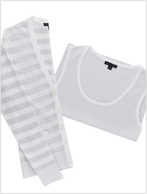 Linen V-Neck Striped Cardigan ($198) and Short-Sleeve Striped Lurex Crewneck Sweater ($98)