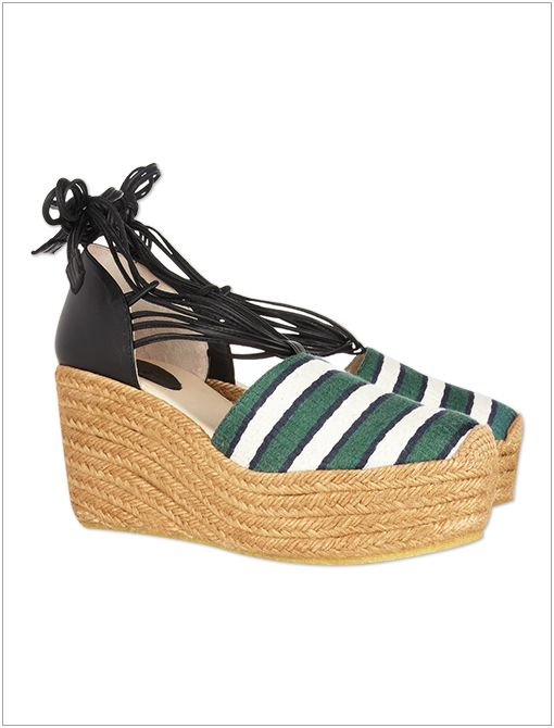 Striped Canvas and Leather Espadrilles ($495)