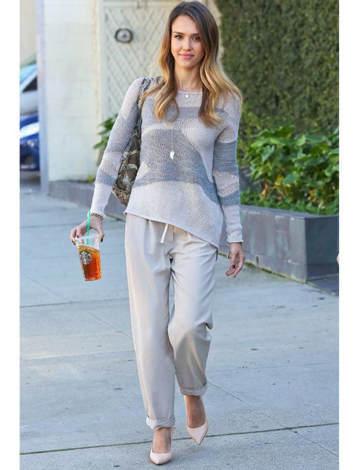 Helmut Lang Merging Texture Sweater ($320) 3.1 Phillip Lim trousers Celine shoesGet Her Look: Ella Moss Simona Streaky Stripe Sweater ($248) See by Chloe Pebble Drawstring Pants ($185) kate spade...
