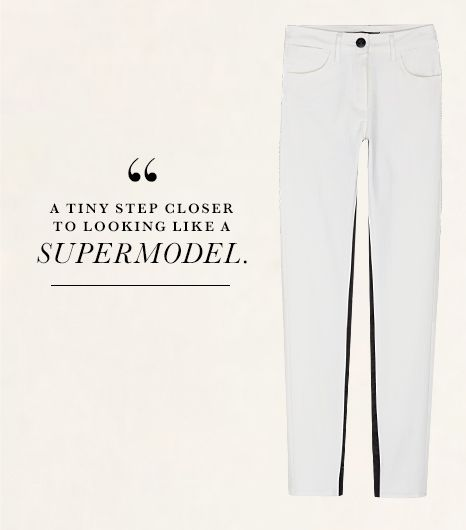 Unless your name's Rosie Huntington-Whiteley, looking slim in a pair of white jeans is impossible. Or so I thought until I tried 3x1's Channel Seam Ankle Jeans ($225) in White/Black...