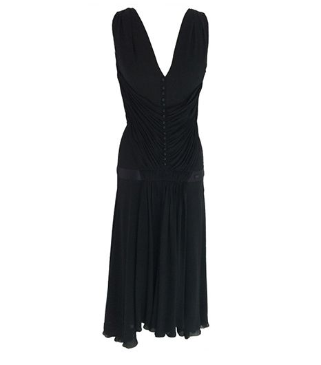 Vintage Pleated Gown ($2500) in Black