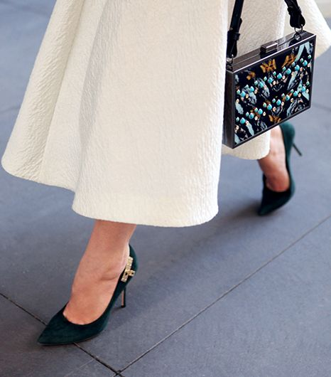 My pumps fall into the aforementioned approved footwear list, but I made sure to keep it interesting by selecting a pair with a lock detail and a rich forest green color.