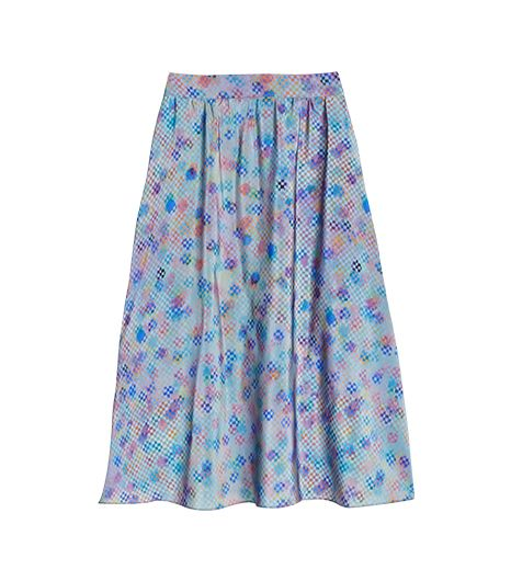 Contrast the feminine vibe of a swingy skirt with a thoroughly modern digital print.