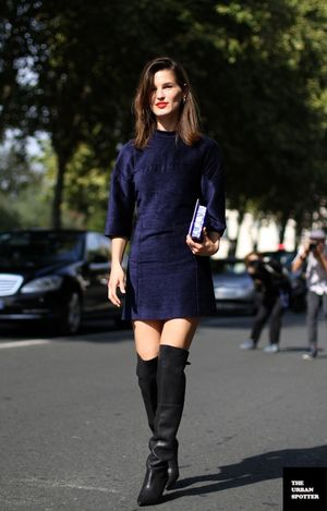 PFW Street Style: Shift Dresses and Over-The-Knee Boots