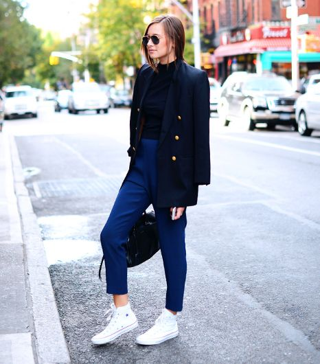 Danielle Bernstein of We Wore What  If you're self-conscious about your lower half or merely want to play with a menswear-inspired silhouette, try an elongated blazer with a mid-thigh...