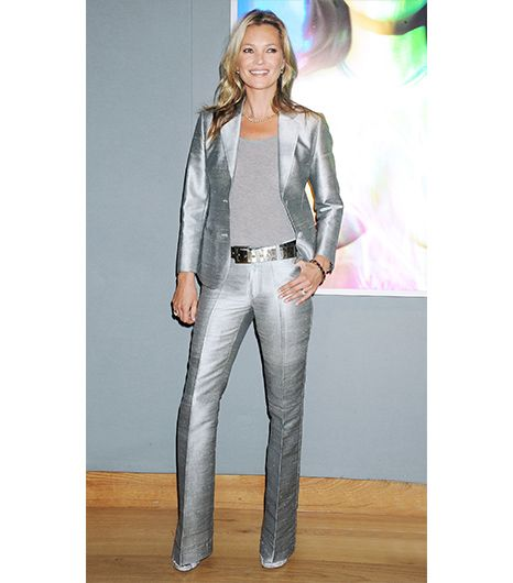 Kate Moss  Although we're quite certain the supermodel doesn't have to worry about minimizing any part of her figure, a suit with flared pant legs is a smart choice for balancing...