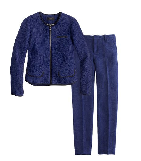 J.Crew Cobalt Tweed Jacket ($248);J.Crew Cobalt Tweed Pant ($168).