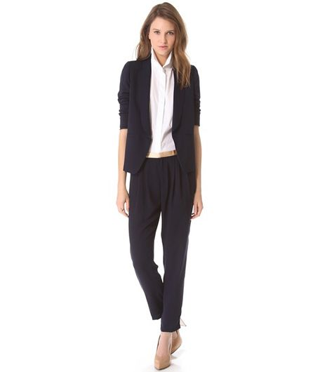 Band of Outsiders Cabrini Suiting Blazer ($595); Band of Outsiders Cabrini Suiting Pants ($299).