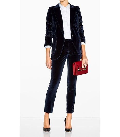 Vanessa Bruno Velvet Suit Jacket ($564); Vanessa Bruno Velvet Suit Trousers ($406).