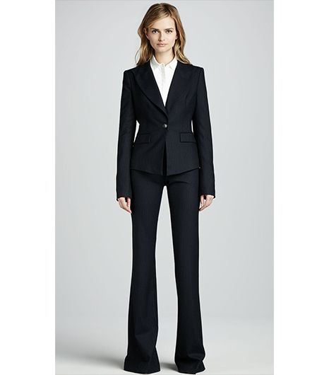 Christina Fitted Pinstripe Jacket & Rachel Flared Pinstripe Pants