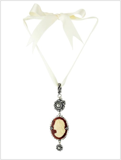"""Peau D'Ange"" Silver with Oval Vintage Cameo Pendant ($240)"