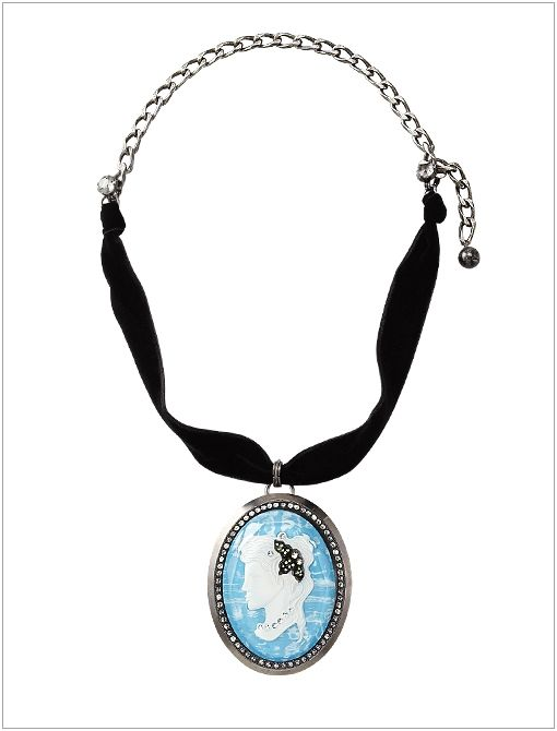 Pave Cameo Necklace, Blue ($2450)