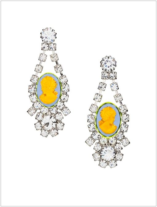 Samba Swarovski Crystal Cameo Earrings ($390)