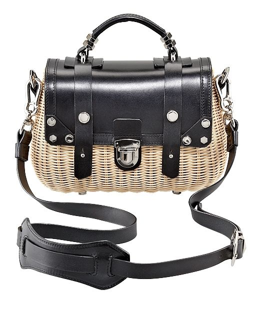 Wicker Mini Crossbody Bag ($280) in Black/Natural