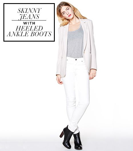 This touches on two points: how to navigate a pair of ankle boots that come up a few inches above the ankle, as well as what to do with those few extra inches of jean that hit below.Look for...