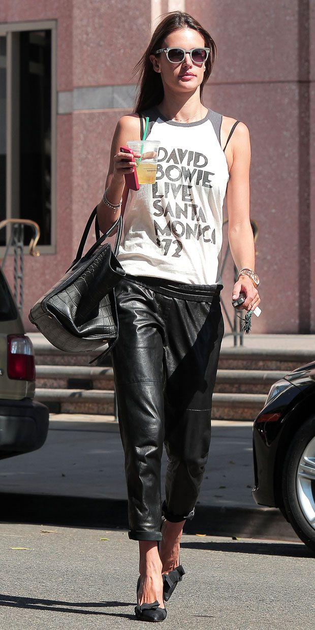 Alessandra Ambrosio shows us the right way to wear leather trousers in Los Angeles.