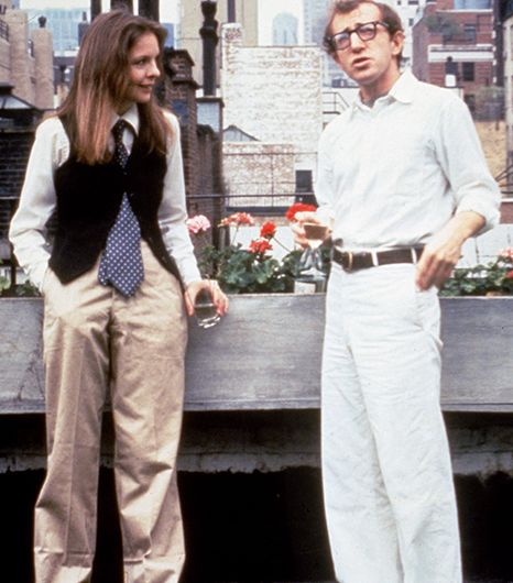 Annie Hall from Annie Hall  If your fall wardrobe looks the menswear department, suit up as beloved tomboy Annie Hall with a black vest, tie, and slouchy trousers.