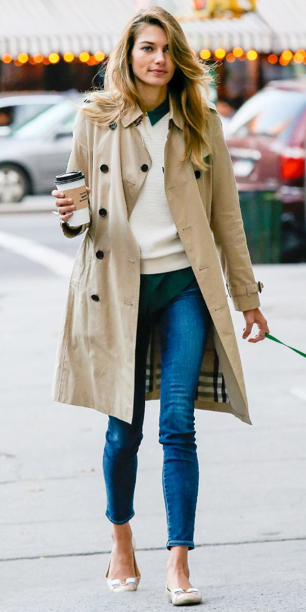 Jessica Hart looks chic while walking her dog in NYC.