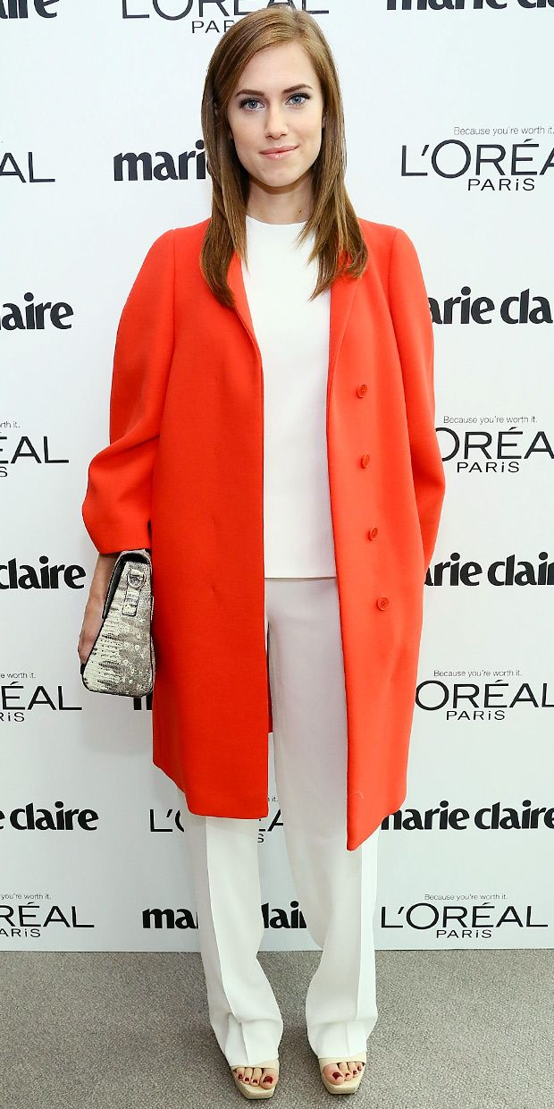 Allison Williams Arrives At Marie Claire's Power Women Lunch.
