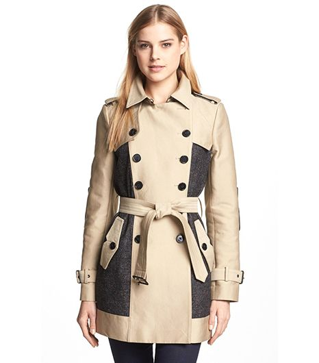 Sam Edelman Double Breasted Wool Inset Trench Coat ($121)